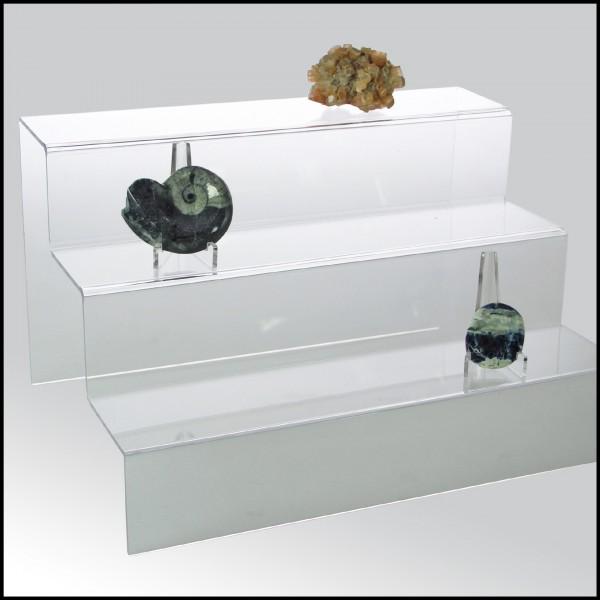 Espositore a scaletta in vetro acrilico trasparente