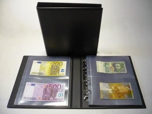 Album per banconote con 25 fogli a 2 scomparti