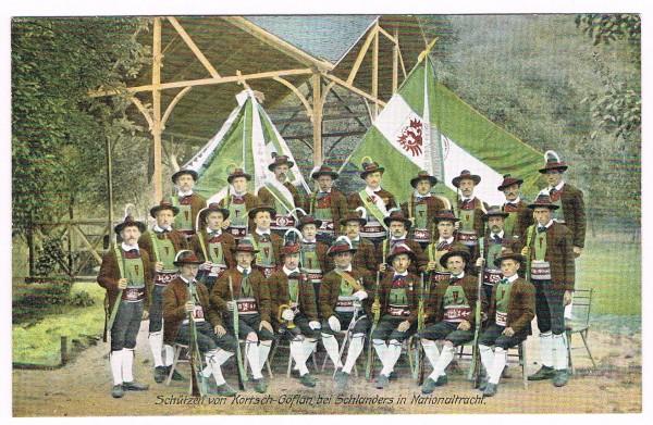 Cartolina Kortsch Schützen von Kortsch Göflan non viaggata 1906