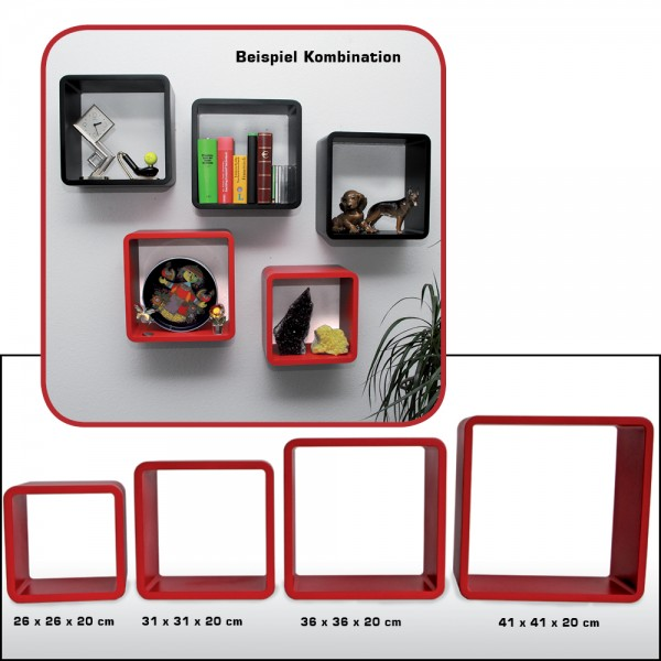 Cubi arredo - Set (4 pezzi) rosso