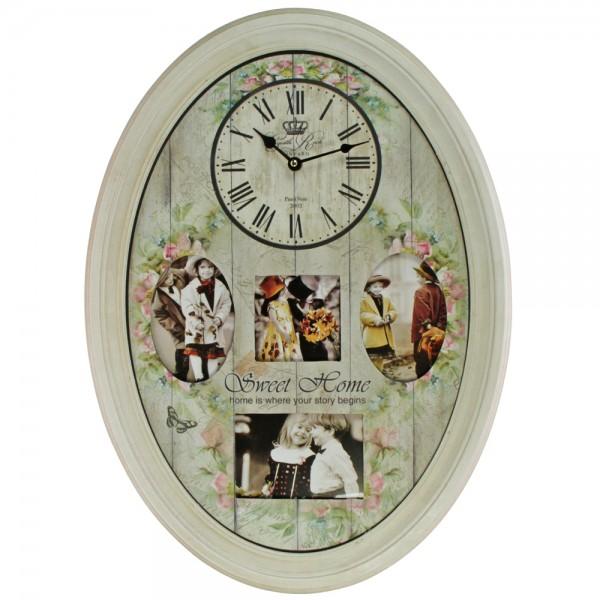 Orologio da parete ovale con cornice per foto
