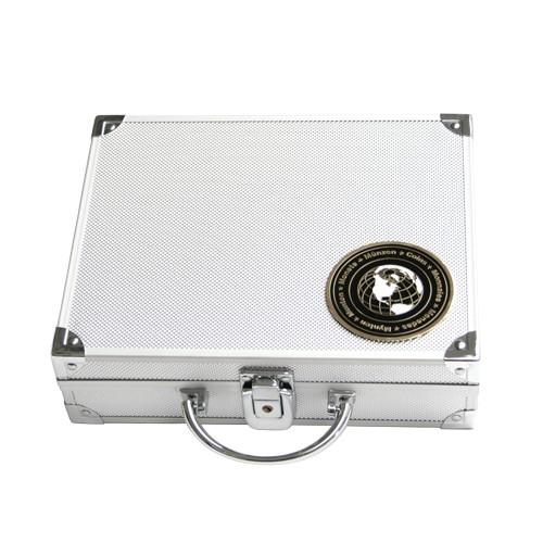 Valigetta in alluminio per monete di diverso diametro