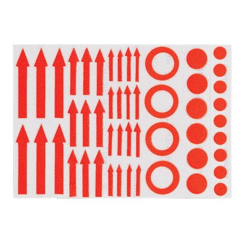 Contrassegni autoadesivi, frecce rosse autoadesive, cerchi, punti