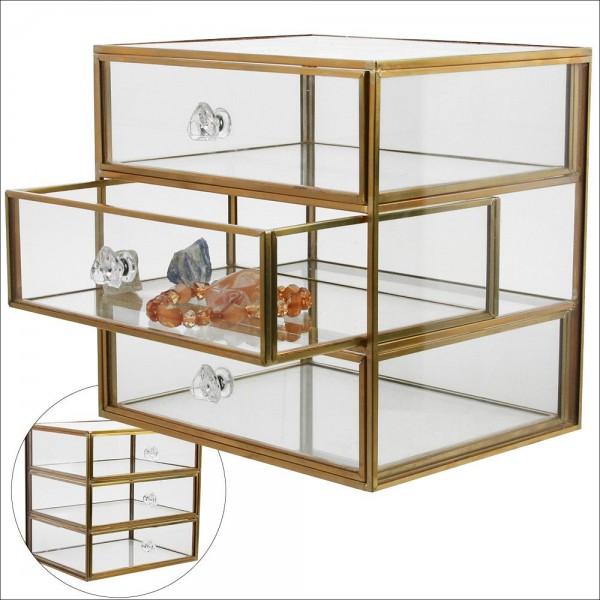 Vetrina in vero vetro con 3 cassetti