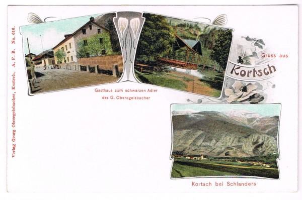 Cartolina Kortsch Gruss aus Kortsch bei Schlanders Gasthaus non viaggata