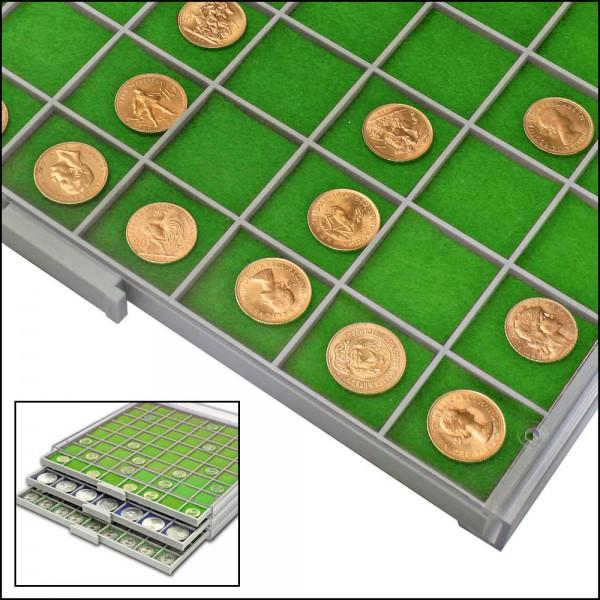 Inserti in feltro verde per vaschette quadrangolari