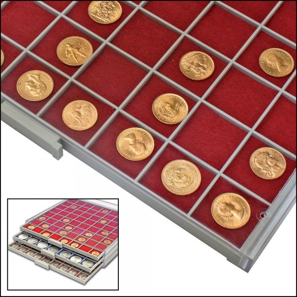 Inserti in feltro rosso per vaschette quadrangolari